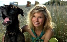 Картинка фон, настроение, собака, девочка