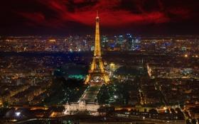 Обои ночь, город, огни, эйфелева башня, Франция, панорамма