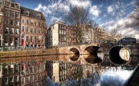 Обои мост, отражение, река, дома, Амстердам, Amsterdam