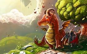 Обои бабочки, дом, дерево, дракон, арт, дорожка, рыцарь