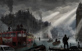 Картинка river, big ben, London, England, United Kingdom, post-apocalyptic