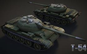 Обои танк, USSR, СССР, танки, рендер, Т-54, WoT
