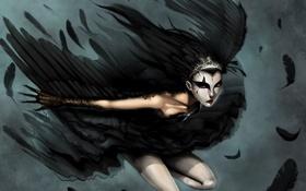 Обои девушка, лебедь, оборотень, black swan