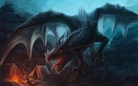 Обои люди, скалы, дракон, костер, арт, ярость, путники