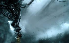 Картинка свет, тьма, бабочка, робот, пыль, Portal, Глэдос