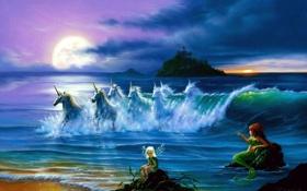 Картинка облака, единороги, They Only Come Out at Night, океан, Jim Warren, луна, русалка