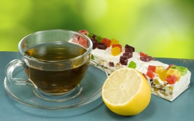 Картинка лимон, чай, кружка, напиток, блюдце, цукаты
