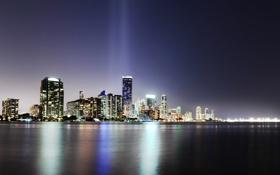 Обои Океан, Майами, Огни, Ночь, США, Miami, night