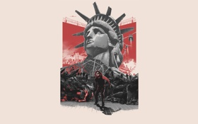 Обои фон, фантастика, боевик, Kurt Russell, Курт Рассел, Escape from New York, Побег из Нью-Йорка