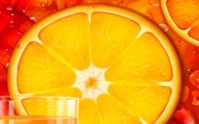 Обои стакан, сок, долька, кольцо, апельсин, рисунок, вектор