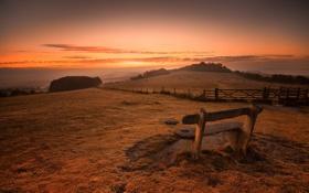 Картинка закат, поле, скамья