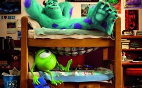 Обои комната, мультфильм, студенты, Академия монстров, Monsters University, Корпорация монстров, Университет монстров