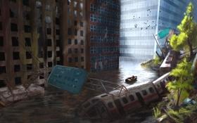 Картинка вагоны, здания, метро, вода, птицы, разруха, руины