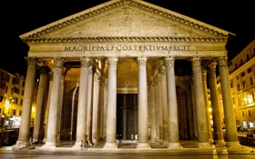 Картинка ночь, площадь, Рим, Италия, колонны, Пантеон