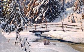 Картинка зима, снег, деревья, пейзаж, мост, река, елки