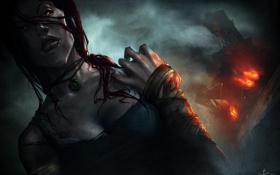 Обои пожар, Lara Croft, арт, Tomb Raider, корабль, Лара Крофт