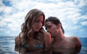 Обои девушка, мужчина, море