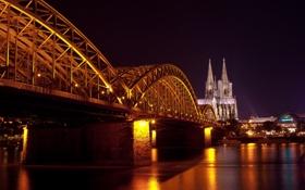 Обои вода, свет, ночь, мост, город, отражение, Германия