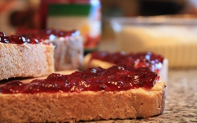 Обои макро, ягоды, еда, хлеб, бутерброд, вкусно, варенье