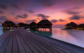 Обои пейзаж, закат, bridge, maldives, lagoon