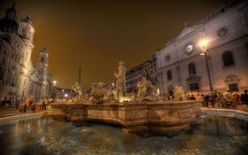Картинка ночь, огни, дома, площадь, Рим, Италия, фонтан