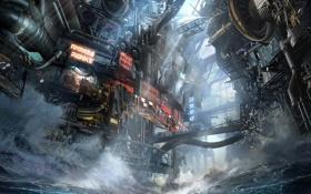 Обои волны, вода, трубы, город, механизм, Killzone, Mercenary