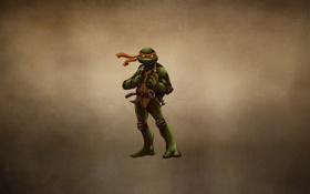 Картинка Нунчаки, темноватый фон, TMNT, Michelangelo, Teenage Mutant Ninja Turtles, черепашки ниндзя, Микеланджело