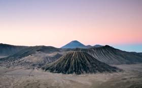 Картинка горы, утро, вулкан, Бромо, Индонезии, Ява, Тенгер