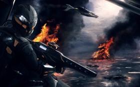 Обои самолет, война, автомат, шлем, под огнем