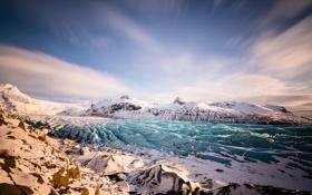 Обои ледник, пейзаж, горы, небо, снег