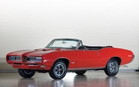 Обои красный, red, кабриолет, мускул кар, muscle car, pontiac, 1968