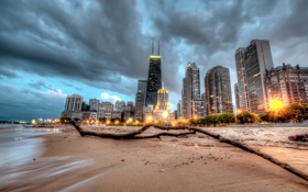 Картинка Чикаго, Иллинойс, Chicago, Illinois, Beach, Skyline, usa