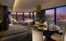 Обои город, вид, столы, ресторан, Hong Kong