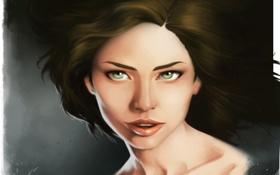 Картинка взгляд, девушка, лицо, фон, волосы, арт, живопись
