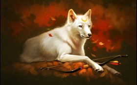 Обои листья, лес, лук, White wolf, волк, арт, защитник
