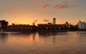 Картинка вода, закат, город, аргентина, буэнос-айрес