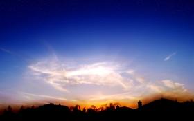Картинка крыша, небо, облака, деревья, закат, силуэт