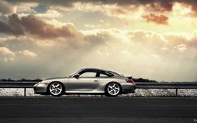 Обои silvery, серебристый, блики, солнце, 911, profile, Porsche