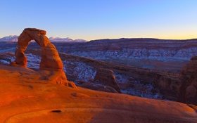 Картинка небо, закат, горы, скалы, арка, Юта, США