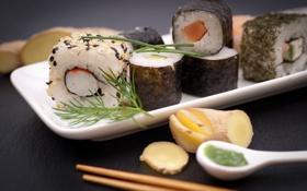 Картинка зелень, палочки, укроп, rolls, sushi, суши, роллы