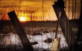 Картинка закат, музыка, гитара