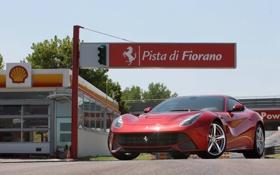 Картинка дорога, асфальт, феррари, красная, вид спереди, ф12 берлинетта, ferrari f12 berlinettа