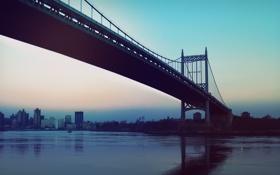 Картинка мост, огни, река, вечер, Город