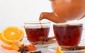 Картинка корица, чашки, апельсин, бадьян, кожура, чай, анис