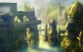 Картинка город, башни, мосты