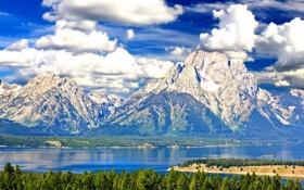 Обои лес, небо, облака, горы, природа, озеро