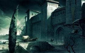 Обои assassin's creed, пейзаж, крепость, кони, люди, арка, арт