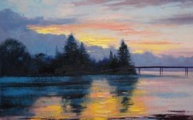 Картинка Рисунок, Арт, Artsaus, Lake Sunset Painting