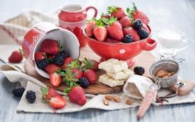 Картинка ягоды, шоколад, клубника, натюрморт, ежевика, миндаль
