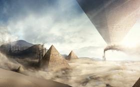 Обои песок, трубы, сюрреализм, завод, пустыня, дым, буря